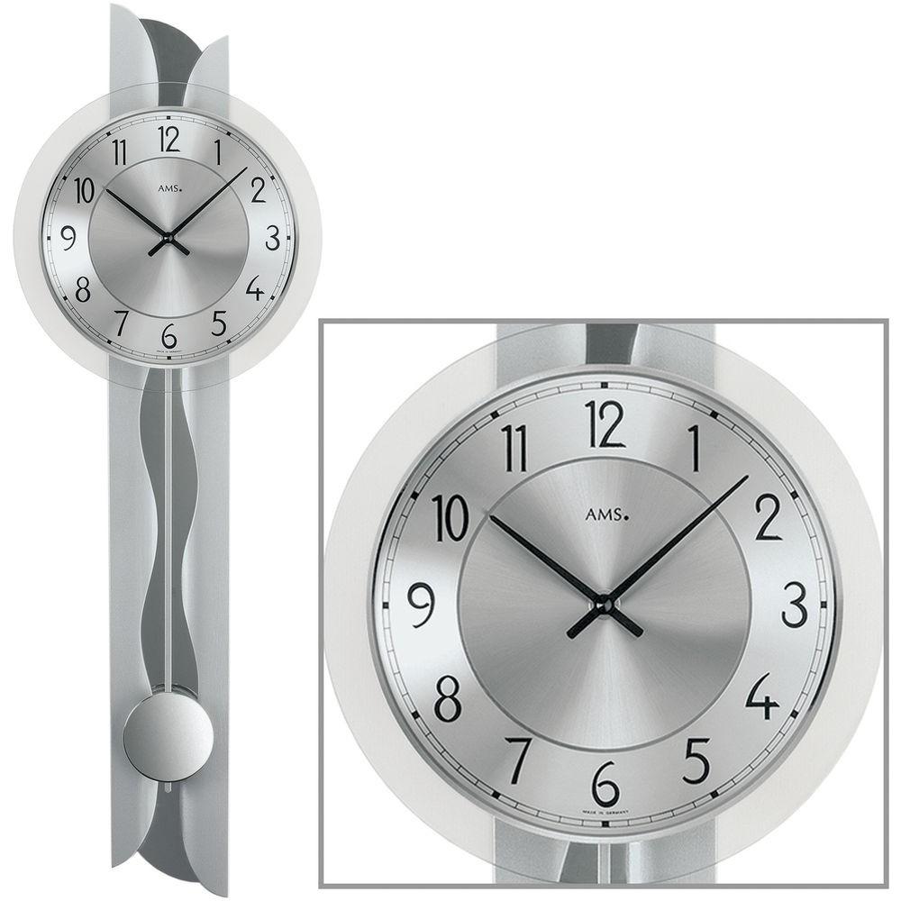 AMS Wanduhr 7216 Quarz mit Pendel Holzrückwand Metalleinlage Mineralglas