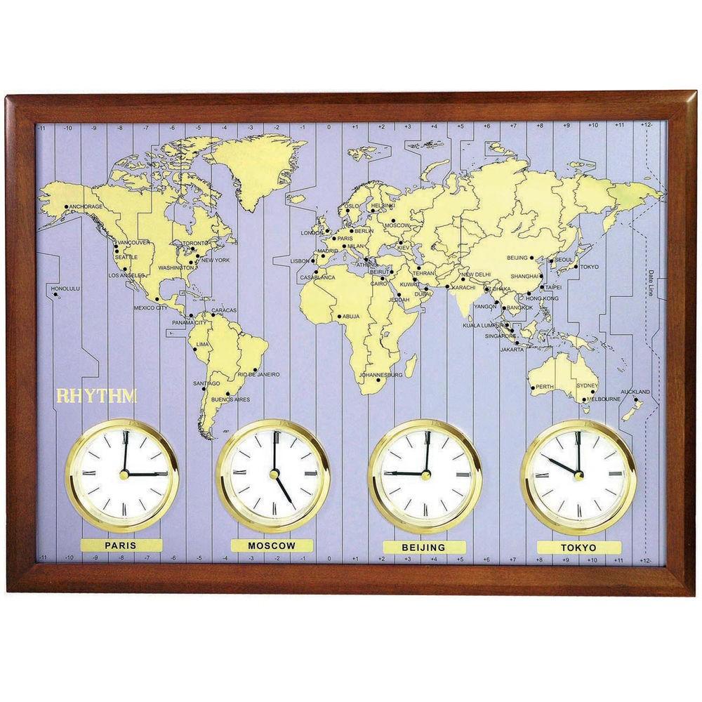 Rhythm 7902 Weltzeit-Uhr Quarz, Holzrahmen mit Metallzifferblatt