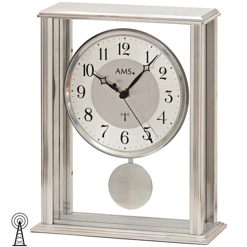 AMS 5190 Tischuhr Funk mit Pendel Mineralglas mit Metallgehäuse kombiniert