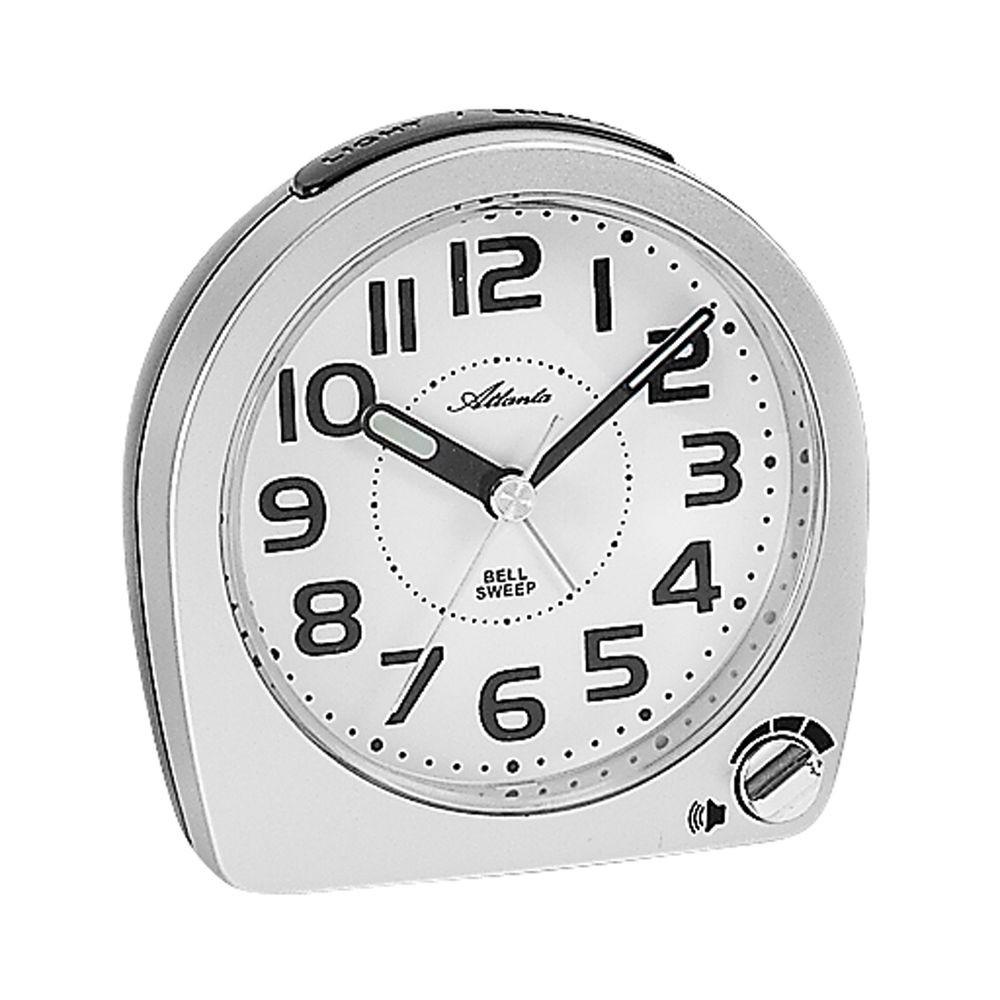 Atlanta 1738/19 Wecker Quarz mit Glockensignal schleichende Sekunde Lichtfunktio