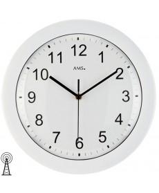 AMS 5934 Wanduhr Funk, weißes Kunststoffgehäuse