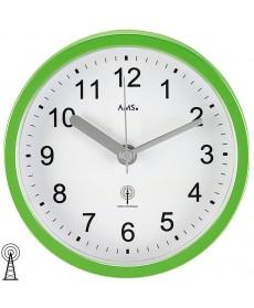AMS 5922 Wanduhr / Tischuhr Funk grün, wasserdichte Badeuhr, Kuststoffgehäuse