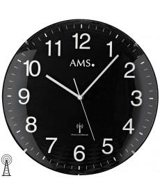 AMS 5959 Wanduhr Funk schwarzes Zifferblatt