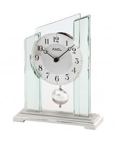 AMS 1168 Tischuhr Quarz mit Pendel Mineralglasgehäuse auf Metallsockel