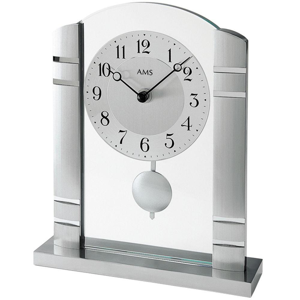 AMS Tischuhr 1118 Quarz mit Pendel Metallgehäuse gebürstet, Mineralglas