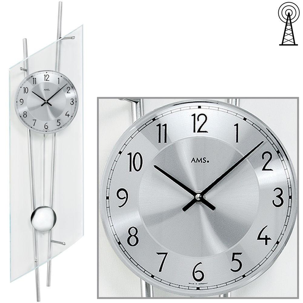 AMS Wanduhr 5200 Funk mit Pendel Mineralglas mit silberlackerten Metallstäben