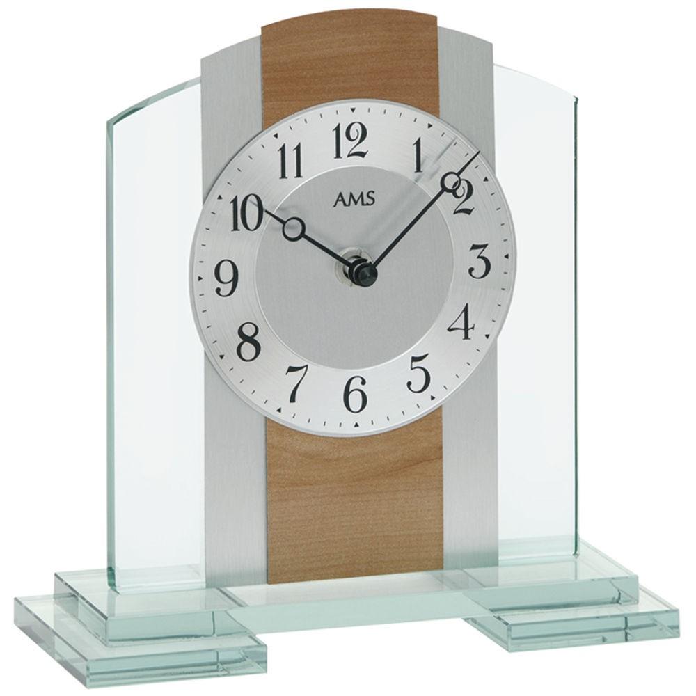 AMS 1124 Tischuhr Quarz Mineralglasgehäuse mit Kernbuche-Optik Aluminium-Auflage
